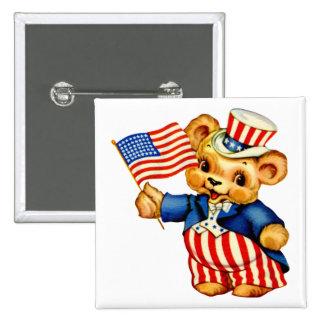 Vintage Patriotic Bear Square Button