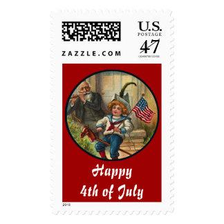 Vintage_Patriotic Boy and Horse_Large Postage