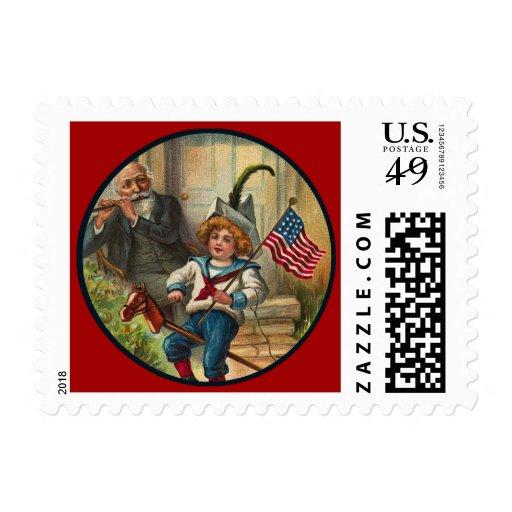 Vintage_Patriotic Boy and Horse_Small Postage