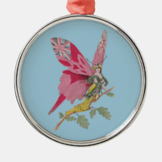 vintage patriotic butterfly union jack round metal christmas ornament