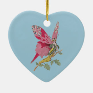 vintage patriotic butterfly union jack Double-Sided heart ceramic christmas ornament