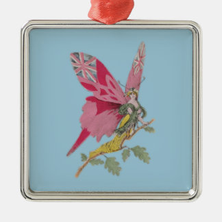 vintage patriotic butterfly union jack square metal christmas ornament