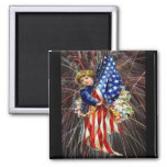 Vintage Patriotic Child and Fireworks 2 Inch Square Magnet