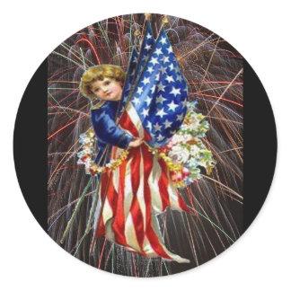 Vintage Patriotic Child and Fireworks Classic Round Sticker