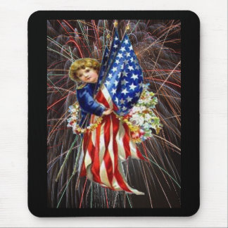 Vintage Patriotic Child and Fireworks Mouse Pad