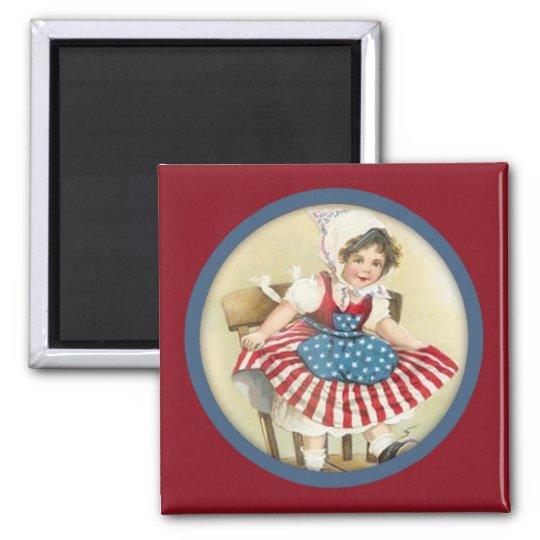 Vintage Patriotic Child Magnet