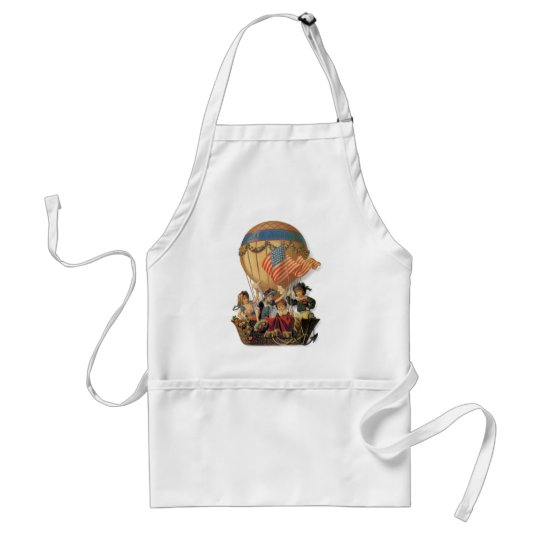 Vintage Patriotic, Children in a Hot Air Balloon Adult Apron