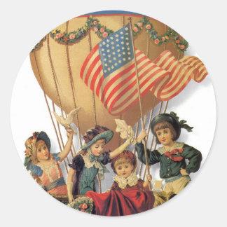 Vintage Patriotic, Children in a Hot Air Balloon Classic Round Sticker