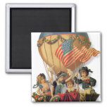 Vintage Patriotic, Children in a Hot Air Balloon Refrigerator Magnet