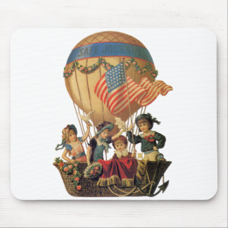 Vintage Patriotic, Children in a Hot Air Balloon Mouse Pad