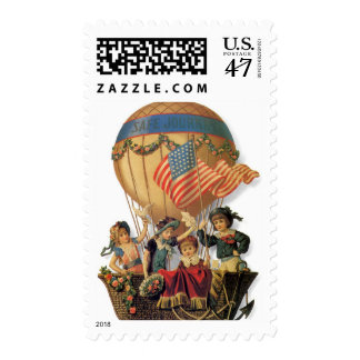 Vintage Patriotic, Children in a Hot Air Balloon Postage Stamp