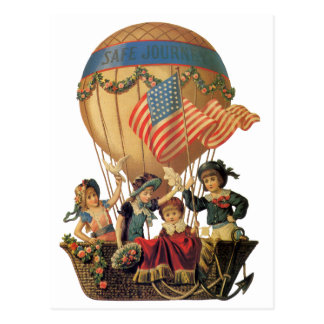 Vintage Patriotic, Children in a Hot Air Balloon Postcard