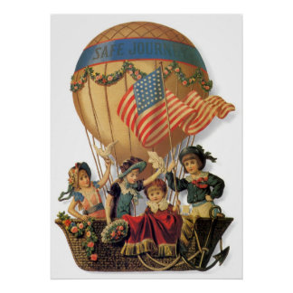 Vintage Patriotic, Children in a Hot Air Balloon Posters
