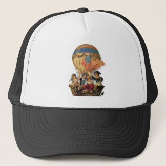 Vintage Patriotic, Children in a Hot Air Balloon Trucker Hat