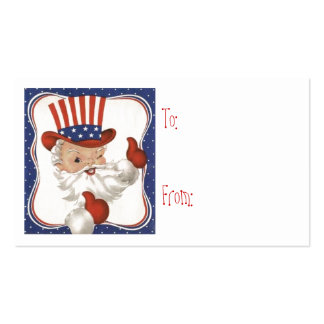 Vintage Patriotic Christmas Santa Gift Tags Business Card