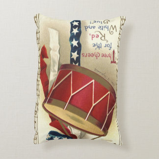 Vintage Patriotic, Drums with Musical Notes Accent Pillow