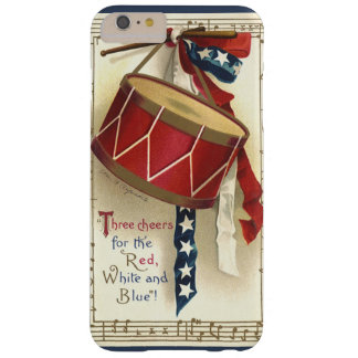 Vintage Patriotic, Drums with Musical Notes Barely There iPhone 6 Plus Case