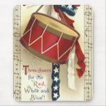 Vintage Patriotic, Drums with Musical Notes Mouse Pad