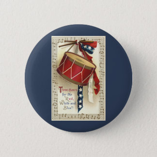 Vintage Patriotic, Drums with Musical Notes Pinback Button