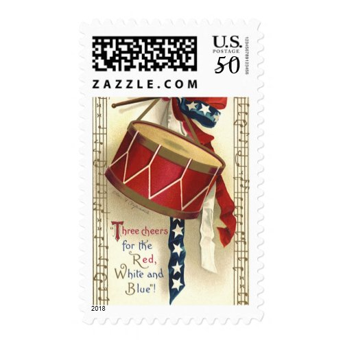 Vintage Patriotic, Drums with Musical Notes Postage