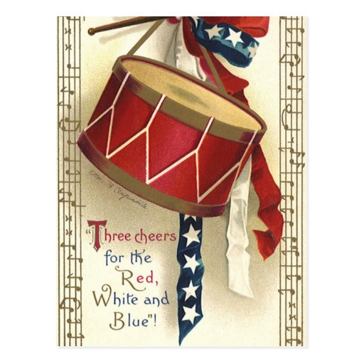 Vintage Patriotic, Drums with Musical Notes Postcards