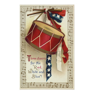 Vintage Patriotic, Drums with Musical Notes Poster
