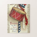 Vintage Patriotic, Drums with Musical Notes Jigsaw Puzzles