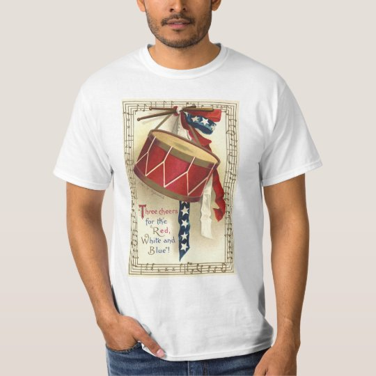 Vintage Patriotic, Drums with Musical Notes T-Shirt