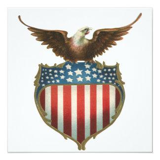 Vintage Patriotic Eagle American Flag Invitation