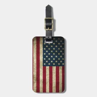 Vintage Patriotic Grunge USA American Flag Luggage Tag