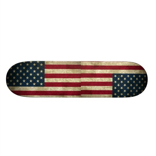 Vintage Patriotic Grunge USA American Flag Skateboard Deck