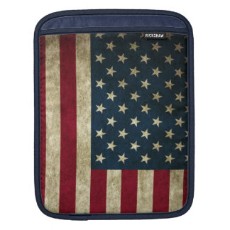 Vintage Patriotic Grunge USA American Flag Sleeve For iPads