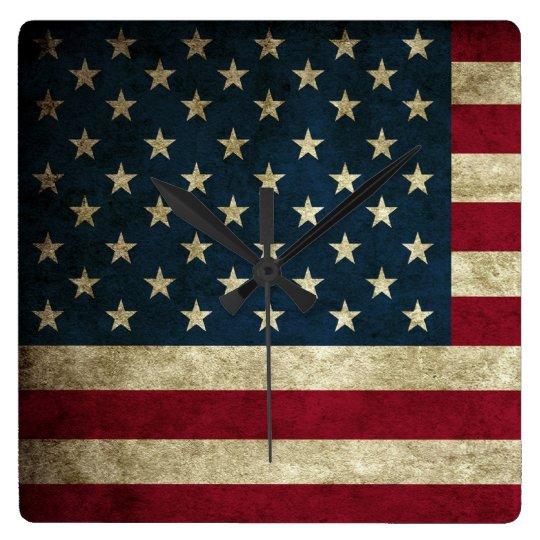 Vintage Patriotic Grunge USA American Flag Square Wall Clock