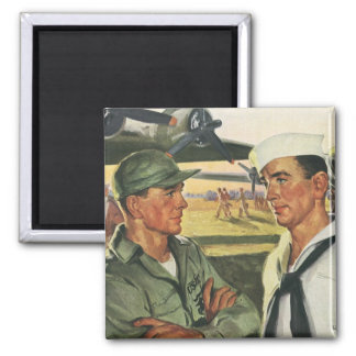 Vintage Patriotic Heroes, Military Personnel 2 Inch Square Magnet