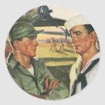 Vintage Patriotic Heroes, Military Personnel Classic Round Sticker