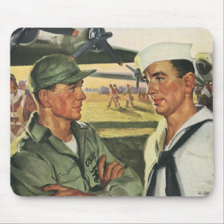 Vintage Patriotic Heroes, Military Personnel Mouse Pad