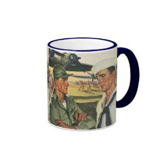 Vintage Patriotic Heroes, Military Personnel Ringer Coffee Mug