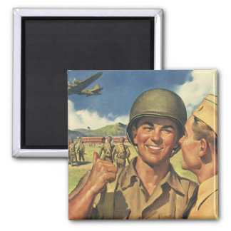 Vintage Patriotic Heroes, Military Personnel Plane 2 Inch Square Magnet