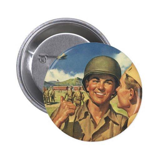 Vintage Patriotic Heroes, Military Personnel Plane Button