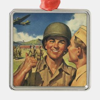 Vintage Patriotic Heroes, Military Personnel Plane Metal Ornament