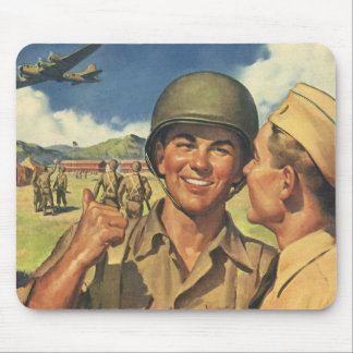 Vintage Patriotic Heroes, Military Personnel Plane Mouse Pad