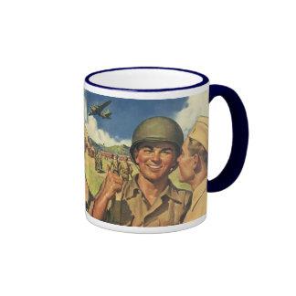 Vintage Patriotic Heroes, Military Personnel Plane Ringer Coffee Mug