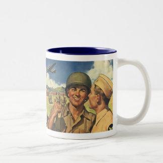 Vintage Patriotic Heroes, Military Personnel Plane Two-Tone Coffee Mug