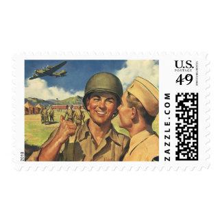 Vintage Patriotic Heroes, Military Personnel Plane Postage Stamp