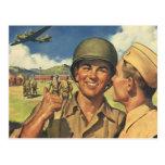 Vintage Patriotic Heroes, Military Personnel Plane Postcard