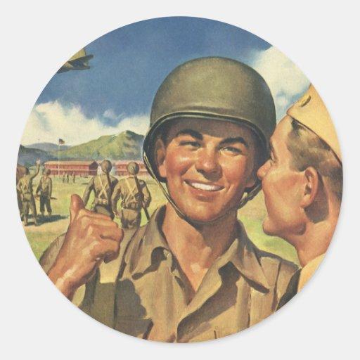 Vintage Patriotic Heroes, Military Personnel Plane Round Stickers