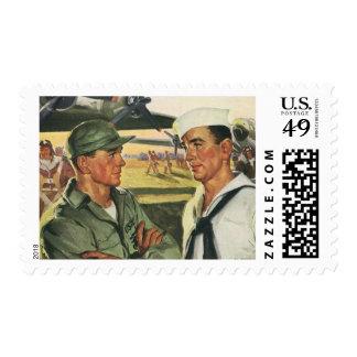 Vintage Patriotic Heroes, Military Personnel Postage Stamp