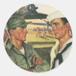 Vintage Patriotic Heroes, Military Personnel Round Sticker