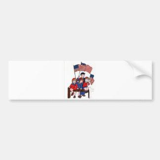 Vintage Patriotic Kids Memorial Day Car Bumper Sticker