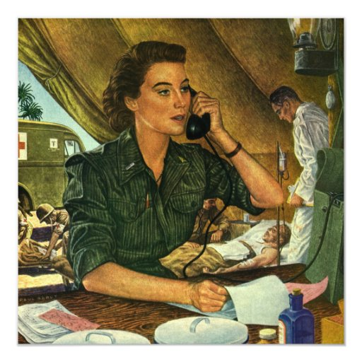 Vintage Patriotic, Medical Nurse on Phone 5.25x5.25 Square Paper Invitation Card